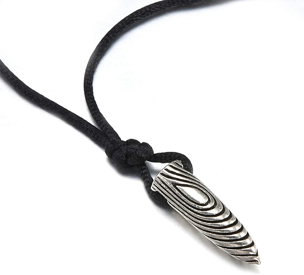 Fashion Men Silver Stainless Steel Bullet Shape Pendant Black Leather Necklace Gift Jewelry Wholesale