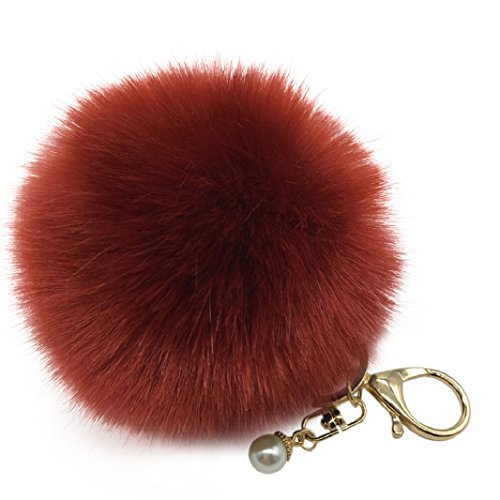 Iuhan Fashion Fluffy Faux Rabbit Fur Ball Charm Car Keychain Handbag Key Ring (Wine Red)