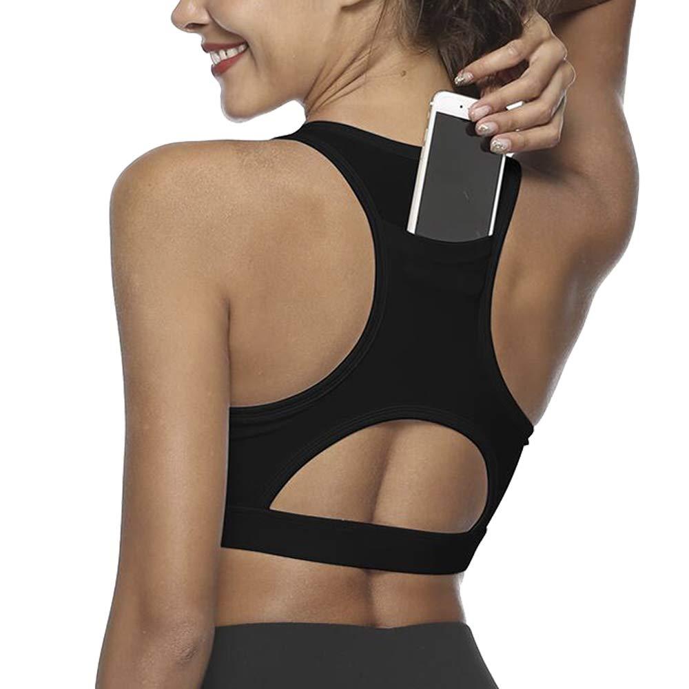 33965e606a16c Top6  Snailify Women s Sports Bra Phone Pocket Racerback Full Coverage High  Impact Bra - Active Wear Yoga Gym Workout