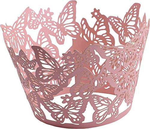 DriewWedding 50PCs Butterfly Pattern Hollow Artistic Bake Cake Cupcake Wrappers Paper Cups Liner for Wedding Birthday Tea Party Baby Shower Food Decoration (Butterflies Table Topper)