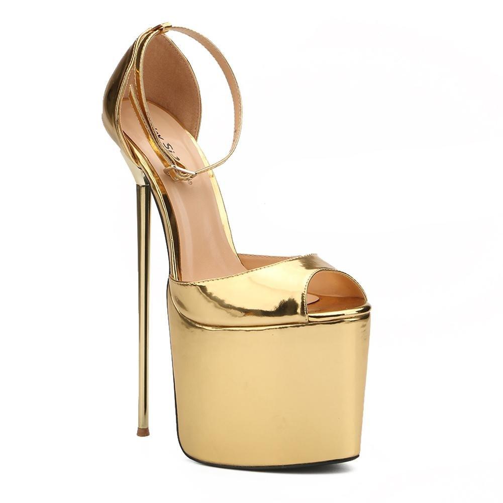 Tacones Altos de Mujer 22cm de ACERO Fino Ultra Alto con Zapatos formales Spring Fall PU Dress Party and Evening 49 EU Yellow