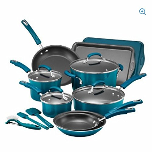 Rachael Ray 16-Piece Hard Porcelain Enamel Nonstick Cookware Set (Marine Blue)