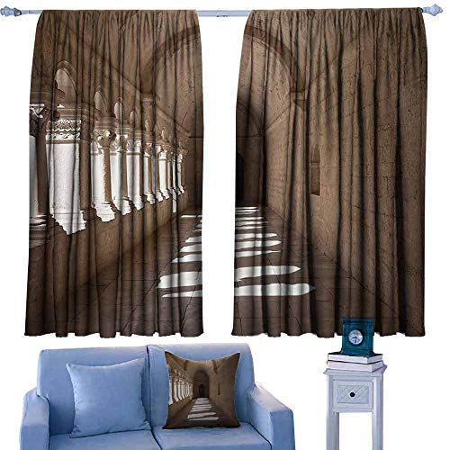 Decorative Curtains for Living Room Apartment Decor Collection France Provence Senanque Abbey Corridor Antique Medieval Landmark Classic Decoration Tie Up Window Drapes Living Room W84