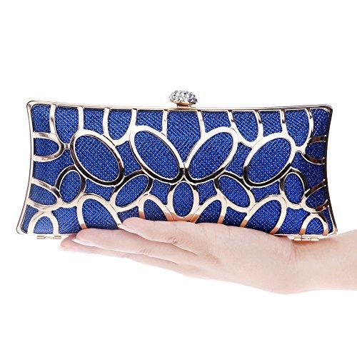Vestido de noche, bolso, europeo y americano de metal dama vestido, desgaste de la tarde, la bolsa de mano,Azul Azul