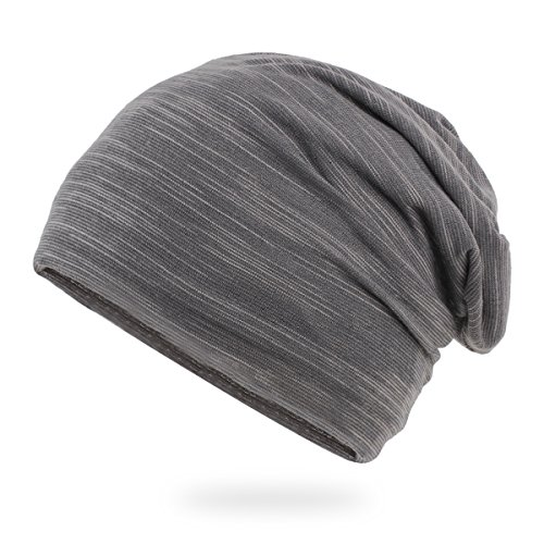 Stretch Mens Beanie (Elwow Men's Breathable Thin Cotton Yarn Fabric Slouch Comfort Daily Skull Beanie Stretch Fit Hat Cap (Grey))