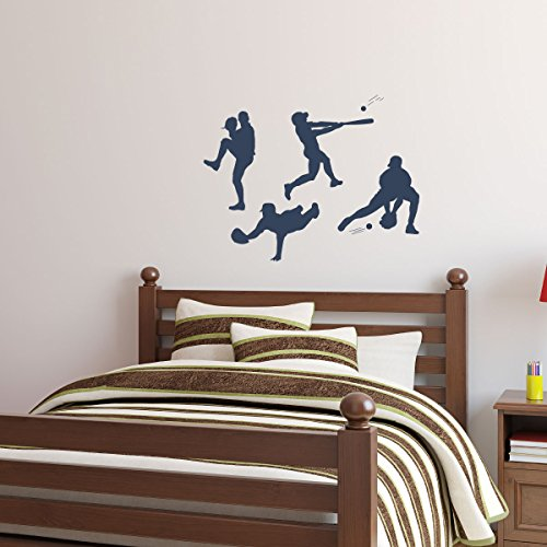 Baseball Player Vinyl Wall Decal Pitching Catching Diving Batting Boys' Room Decor Stickers (Baseball Player Wall Decal)