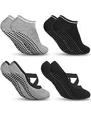Zacro 4 Packs Non-Slip Yoga Socks for Women, Ideal for Fitness Pilates Pure Barre Ballet Dance Barefoot Workout - Black&Gris