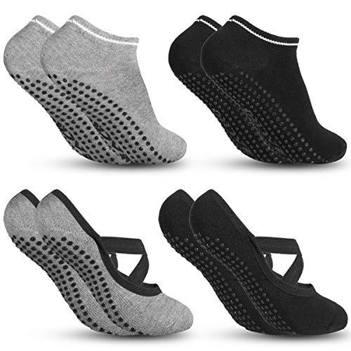 Zacro Yoga Socks - 4 Packs Non-Slip Socks for Women, Ideal for Fitness, Pilates, Pure Barre, Ballet, Dance and Barefoot Workout - Black & Grey