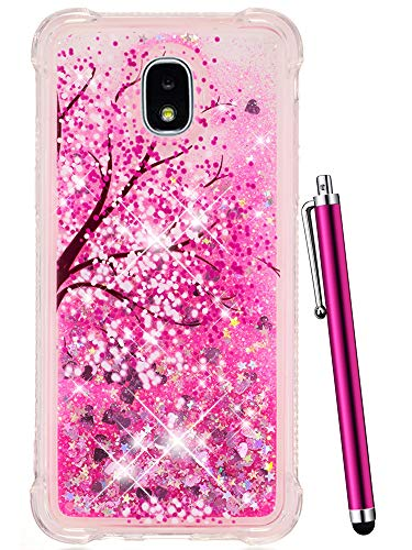 CAIYUNL for Galaxy J7 Refine Case for Girls, Samsung J7 2018,J7 Star,J7 Crown,J7 Aero,J7 Aura,J7 Eon,J7 Top Luxury Glitter Bling Liquid Sparkle Clear TPU Cover Cute Protective Shockproof-Hot Pink Tree