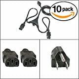 Otimo (10 Pack) 6Ft PC Y Power Cord 5-15P to C-13 Black SJT 18/3