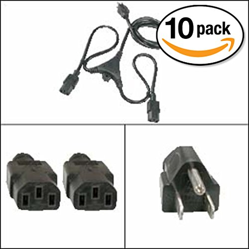 Otimo (10 Pack) 6Ft PC Y Power Cord 5-15P to C-13 Black SJT 18/3 by Otimo