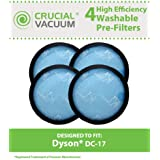 4 Highly Durable Washable & Reusable Micro Allergen Pre-Filters for Dyson DC17 Vacuums; Compare to Dyson Part No. 911236-01; Designed & Engineered By Think Crucial