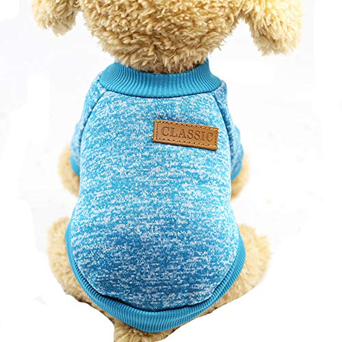 - Mummumi Small Dog Clothes, Puppy Soft Thickening Warm Autumn Outwear Cat Windproof Dog Knit Sweaters Winter Clothes Outfit Apparel For Small Dog Chihuahua,Yorkshire, Terrier, Poodle (XS, Light Blue)