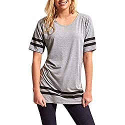Poluck Hot Sales Womens Short Sleeves Stripe Tunic Tops For Leggings Flowy Shirt T Shirts Summer Tops Tee
