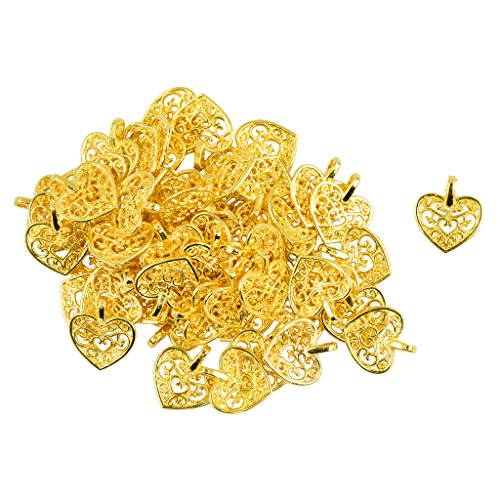 B Blesiya 50 Pieces Wholesale Heart Alloy Hollow Filigree Pendant Findings Jewelry Making Gold Tone ()