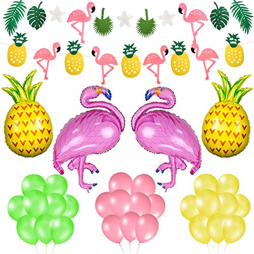 Phogary Summer Party Decoration 36PCS Set - Tropical Party Flamingo Pineapple Palm Leaves Garland Banners and Balloons, Hawaiian Luau Beach Supplies Kit -