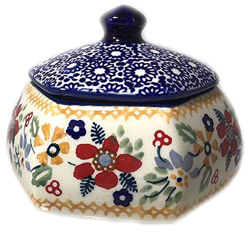(Polish Pottery Lidded Hex Shaped Trinket Box DPLC Christmas Posies Red Blue Green Gold )