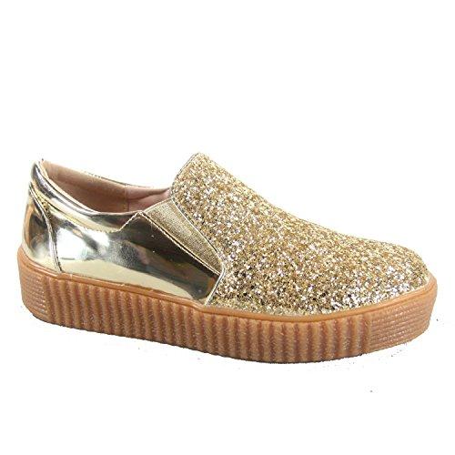 Per Sempre Maglia Regan-2 Moda Donna Punta Rotonda Elegante Glitter Scarpe Basse Sneakers Basse Oro