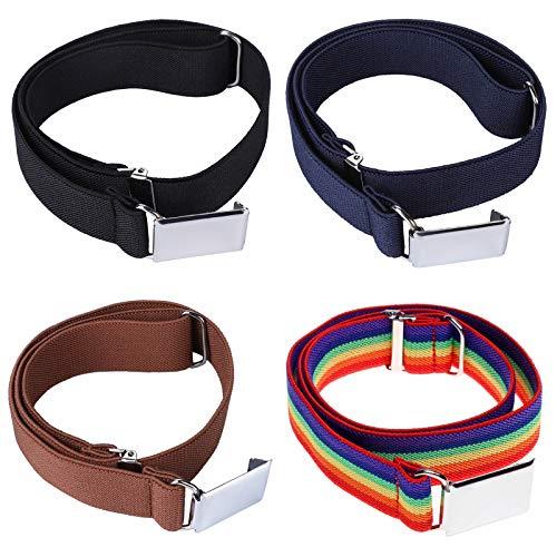 4PCS Kids Boys Elastic Buckle Belt - Adjustable Belt with Silver Square Buckle (Navy Blue/Brown/Black/Rainbow)