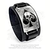 Mens Wristband Gothic Leather Cuff Bracelet Ace of Spades Skull Face Black Enamel Playing Card