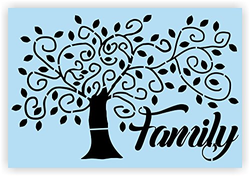 Family Tree Stencil for Painting Wood Signs, Reusable & Thick, by Barn Star
