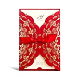 WISHMADE 1 Piece Red and Gold Foil Laser Cut Lace Wedding Invitations Cards Sets, Printable Engagement Birthday Party Bridal Shower Invites Kits with Envelops