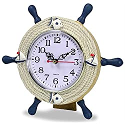 Decorative Nautical Desktop Clock - Navy Blue and Cream Steering Wheel Helm with Fish and Sailboat Designs - Easel Back - 9 Inch