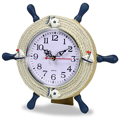 BANBERRY DESIGNS Nautical Clocks - Sailboat Steering Wheel Helm Decoration - Sits with Easel - 9 Inch