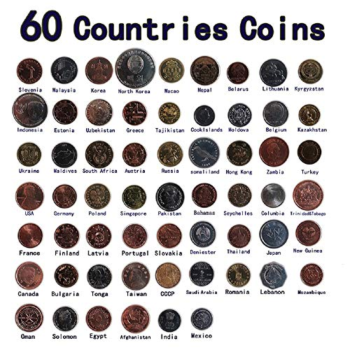 (60 Coins from Different Countries, Real Genuine Original Coin, Country Collectibles Euro Asia Africa America Collection Gift)