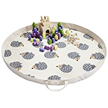 3 Sprouts Play Mat Bag, Hedgehog, Gray