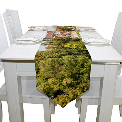 Table Cover Distant Scenery View ULM Cathedral Non-Slip Table Runner Decorative Table Cloths for Kitchen Dining Room Decoration Decor Table Covers Table Overlays 13x90 Inch ()
