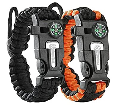 URToys Paracord Bracelet (2 pack) Tactical and Survival Gear Kit Adjustable Size Fire Starter Loud Whistle Emergency Knife Perfect for Hiking Camping Fishing and Hunting Black & Black+Orange