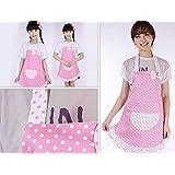 Ainest Newly Princess Apron Kids Baking Children Party Polka Dot Kitchen Cook Boy Pink white dots-S