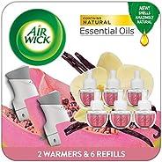 Air Wick Plug in Scented Oil Starter Kit, 2 Warmers + 6 Refills, Vanilla & Pink Papaya, Essential Oils, Va