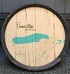 Donner Lake Map Barrel End Sign