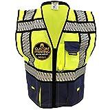 KwikSafety SHERIFF Safety Vest | Class 2 ANSI OSHA PPE | High Visibility Reflective Stripes, Heavy Duty Mesh with Pockets and Zipper | Hi-Vis Construction Work Hi-Vis Surveyor Men | Blue L/XL