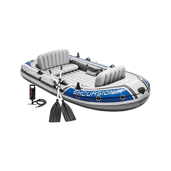 51o8UTUzJwL Intex Excursion 4 Set Schlauchboot - 315 x 165 x 43 cm - 3-teilig - Grau / Blau