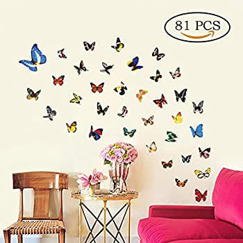 Neele Butterfly Wall Decals Butterfly Removable Mural Stickers Wall Stickers  For Home And Room Decoration U2026 (81)