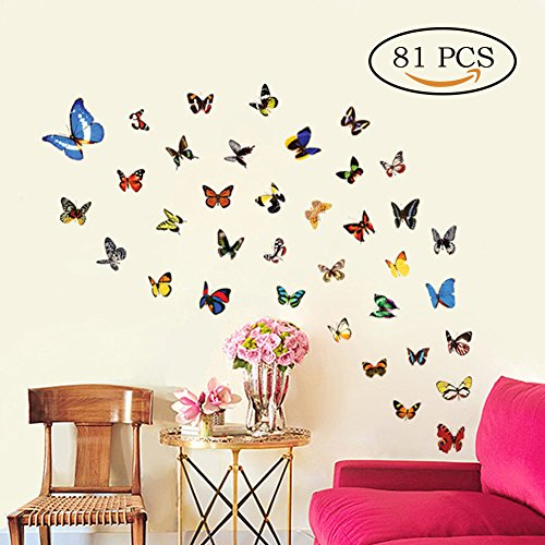 Butterfly Wall Decals 81 Pcs Butterfly Removable Mural Stickers Wall Stickers for Home and Room Decoration