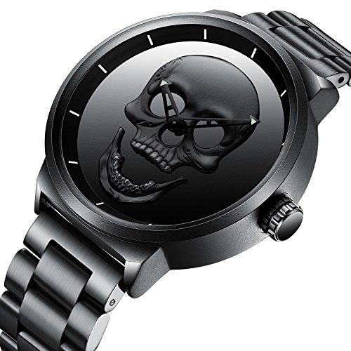 Mens Black Big Face Watches Men 30M Waterproof Large Luxury Casual Stainless Steel Wrist Watch for Men