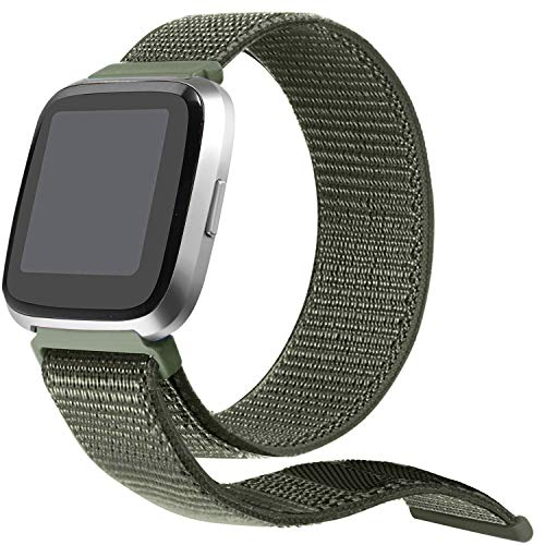 (bayite Soft Nylon Bands Compatible with Fitbit Versa Women Men, Breathable Sport Loop Band Replacement Accessories Wristband, Army Green)