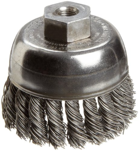 Weiler Wire Cup Brush, Threaded Hole, Steel, Partial Twist Knotted, Single Row, 2-3/4