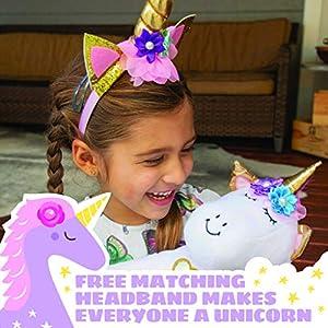 Light Autumn Unicorn Stuffed Animal for Girls - Unicorn Gifts - Unicorn Toys for Girls Age 5 or Any Age - Bonus Headband and Stickers with Plush Stuffed Unicorn Toy