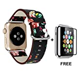 Apple Watch Band With Free Tempered Glass Screen Protector 38mm, Jimbird Soft PU Leather Replacement Strap Wrist Band for Women Nike+, Series 3, Series 2, Series 1, Sport, Edition
