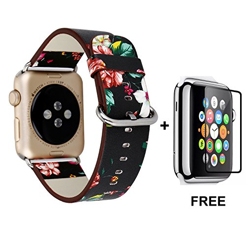 Apple Watch Band With Free Tempered Glass Screen Protector 42mm, Jimbird Soft PU Leather Replacement Strap Wrist Band for Women Nike+, Series 3, Series 2, Series 1, Sport, Edition