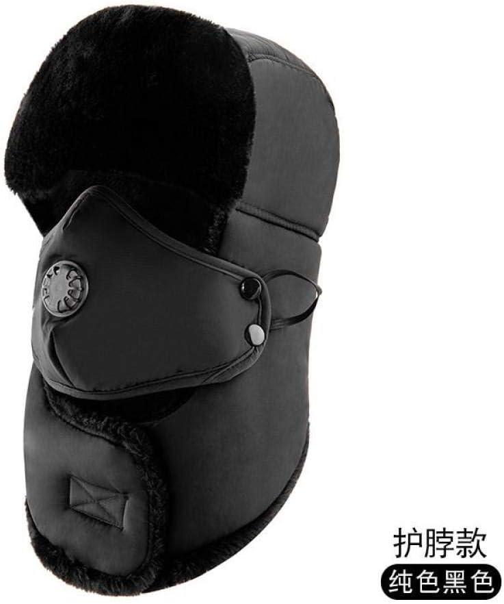 SKYROPNG Sombrero De Invierno,Lei Feng Tapón Negro Protección para Los Oídos con Orificios De Ventilación Máscara De Protección del Cuello Engrosado Resistencia Al Frío Exterior Cálida Viento Frío Ne