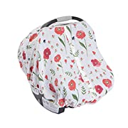Little Unicorn Cotton Muslin Car Seat Canopy - Summer Poppy