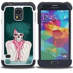 """SAMSUNG Galaxy S5 V / i9600 / SM-G900 - 3 en 1 impreso colorido de Altas Prestaciones PC Funda chaqueta Negro cubierta gel silicona suave (Gótico punky del cráneo"""")"""