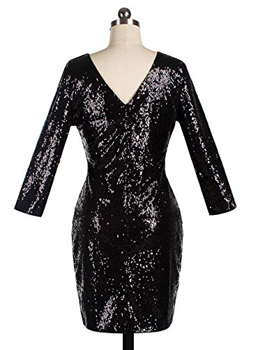 Nu 3 Manches de Dos 4 Soire Bar Robe Femme Dress Cocktail Noir Clubwear Mini Crayon Paillettes Bodycon c80XnW