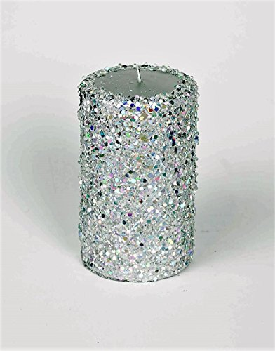Candle Gift - Pillar Candle with Beads & Glitter – No-Drip Decorative Wax Candle. Brings A Holiday Relaxing & Romantic Atmosphere. Excellent Gift - Glitter Holiday